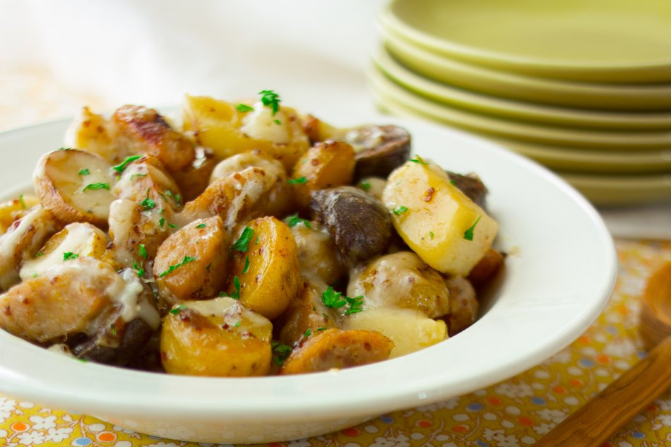 Potato, Apple and Sausage Bake