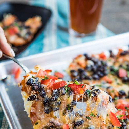 Black Bean and Sweet Potato Waffle Fry Nachos