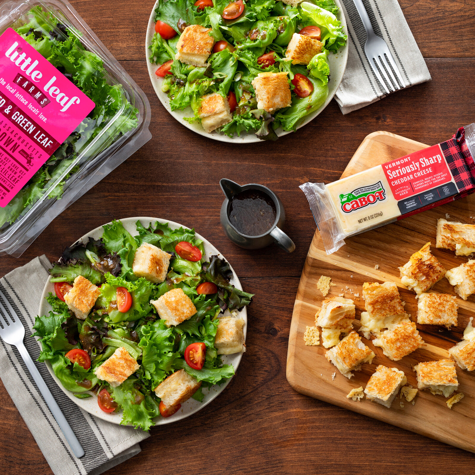 Mixed Greens with Grilled Cheese Croutons