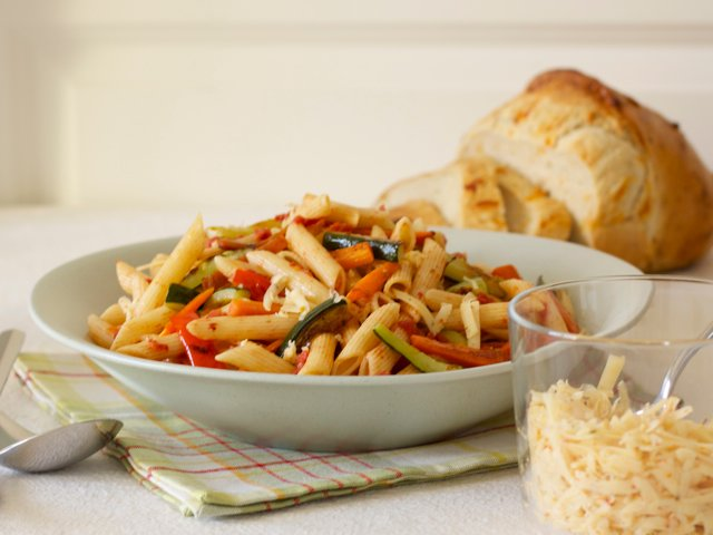 Penne with Roasted Vegetables & Cheddar