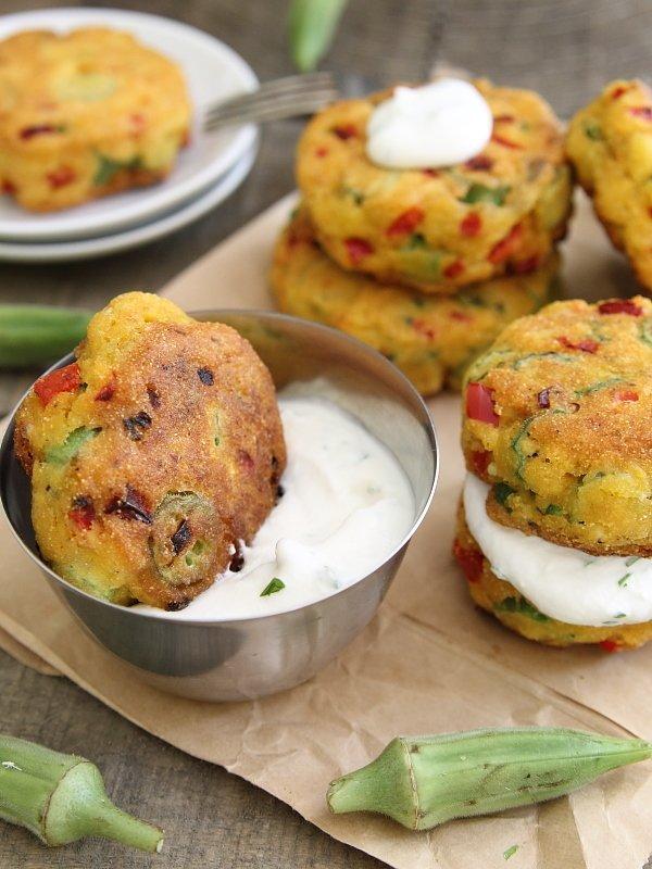 Okra Cornmeal Cakes with Cilantro Lime Yogurt Dip