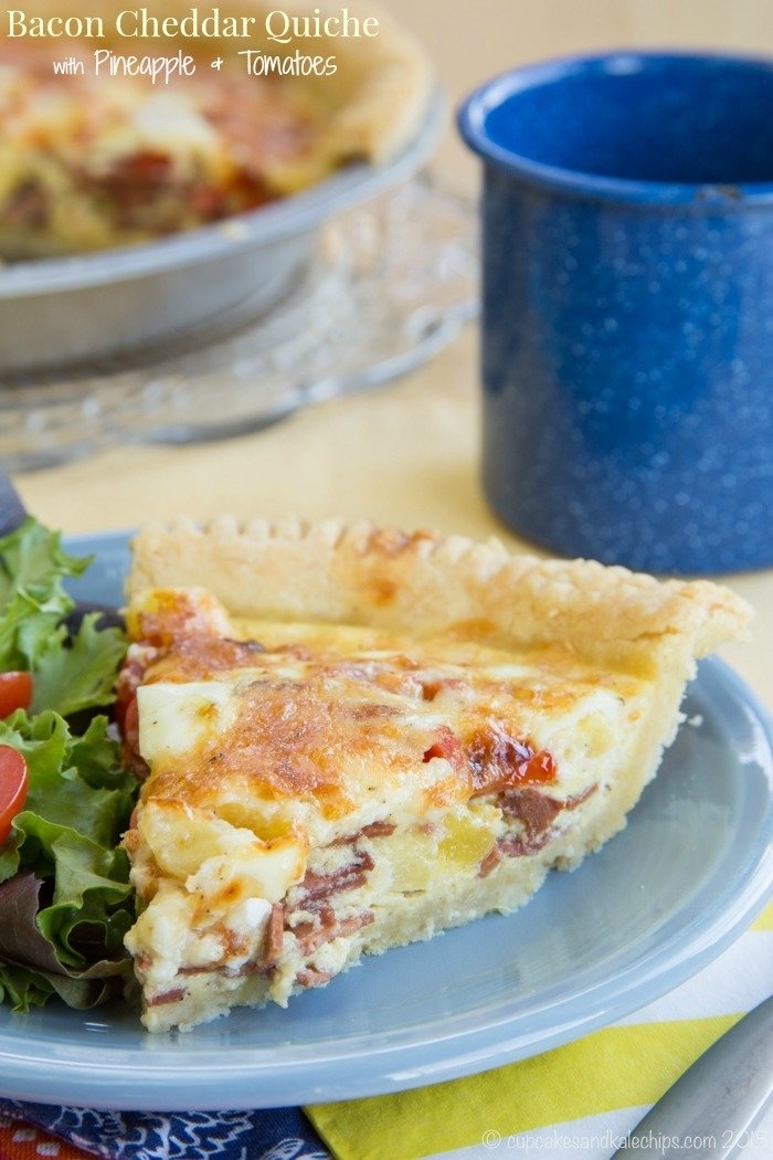 Gluten-Free Bacon Cheddar Quiche with Tomato and Pineapple