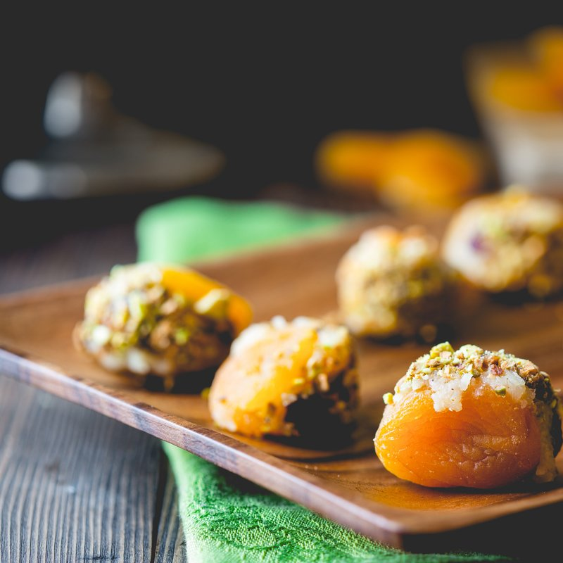 Stuffed Apricots with Cheddar and Cranberries