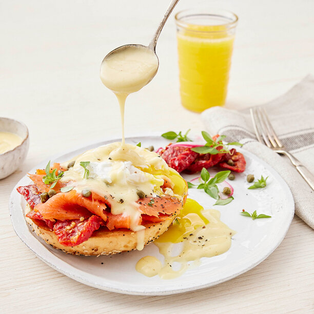 Salmon Benedict with Cheddar Sauce