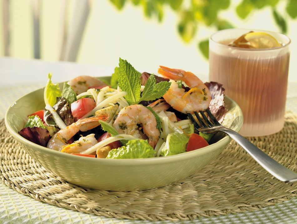 Grilled Shrimp Salad with Orange-Mint Dressing