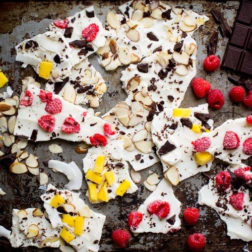 Frozen Yogurt Bark with Raspberries & Divine Chocolate