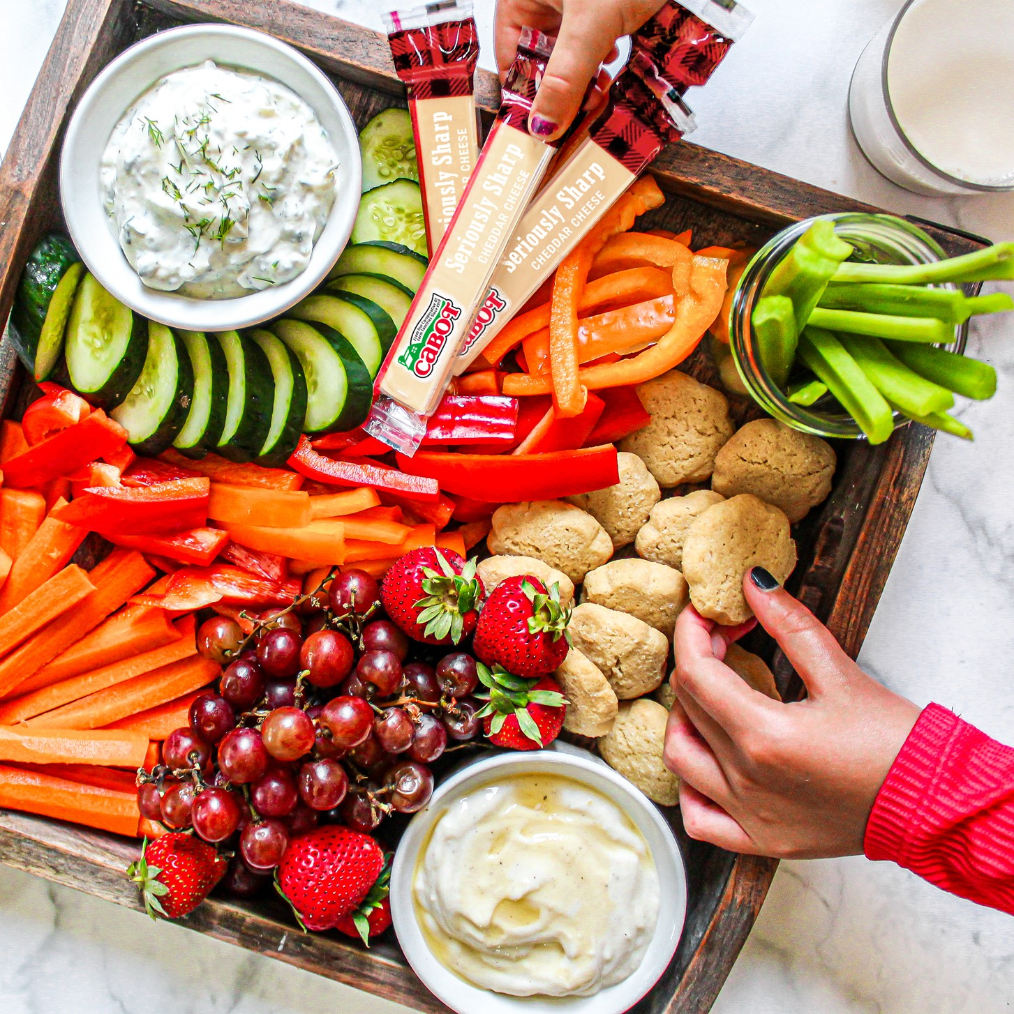 Kids Snack Board with Yogurt Dips
