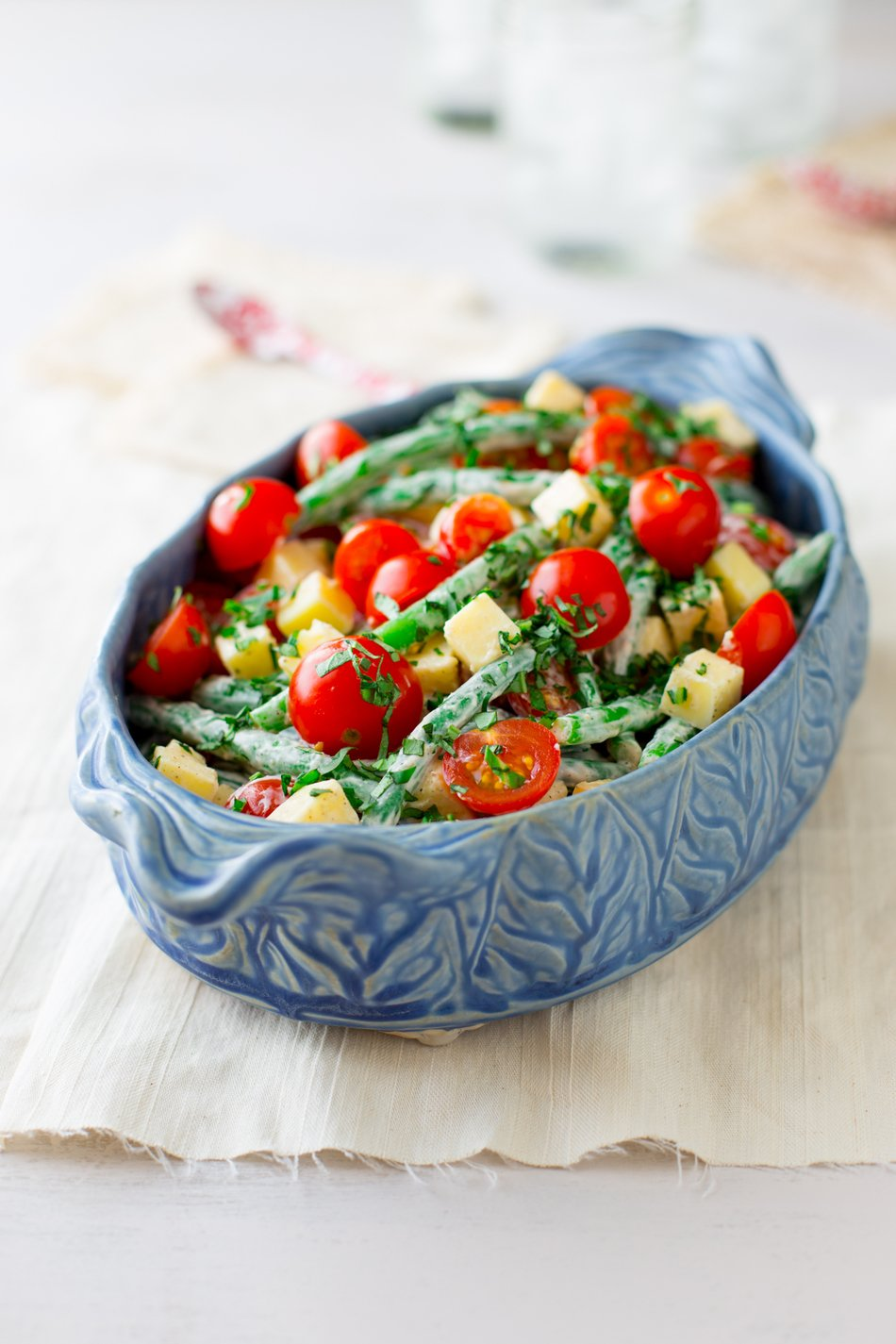 Green Bean, Cherry Tomato and Cheddar Salad