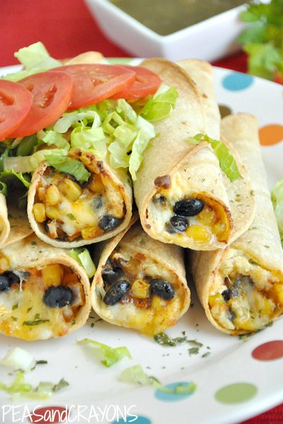 Baked Black Bean & Sweet Potato Flautas