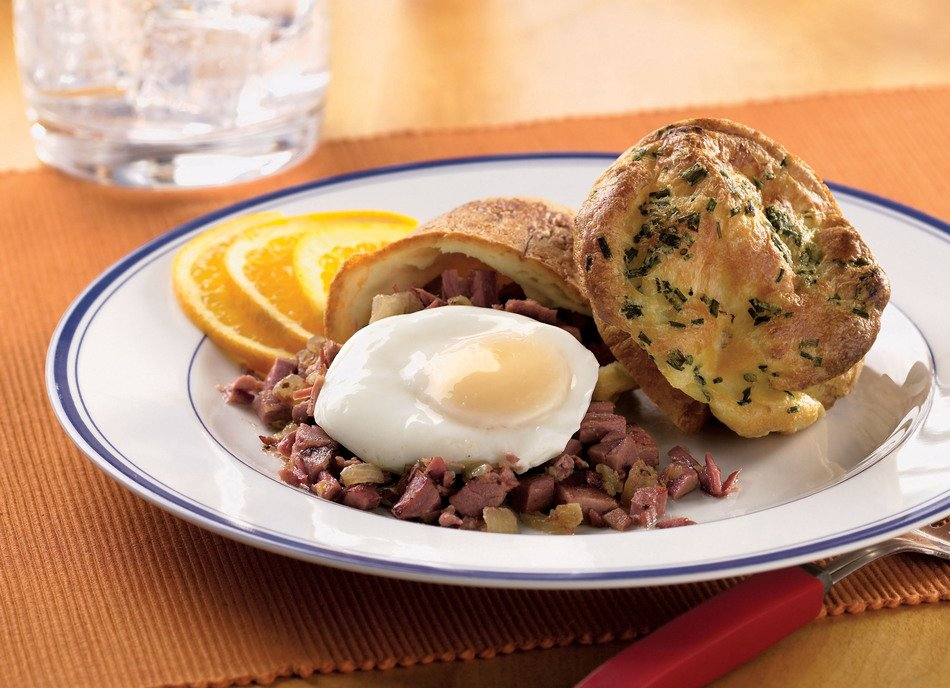 Sour Cream Popovers with Corned Beef & Poached Eggs