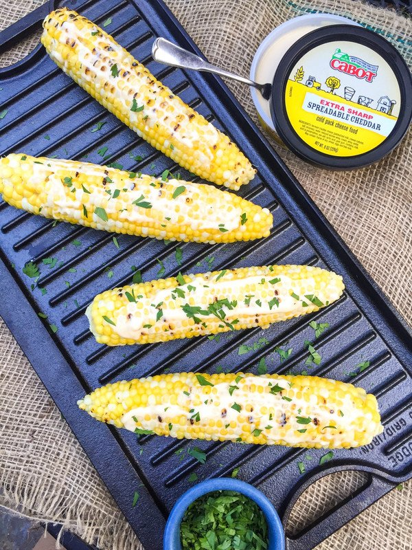 Grilled Corn on the Cob with Spreadable Cheddar
