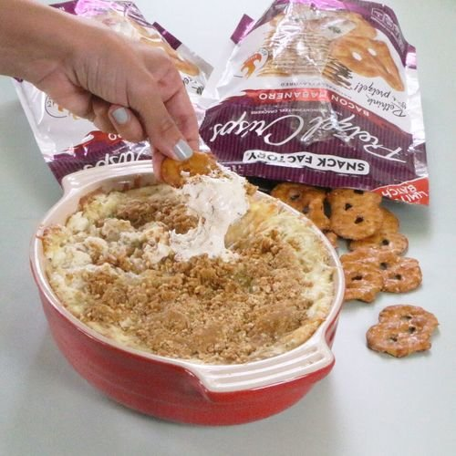 Hot Garlic Cheese Dip with Pretzel Crumb Topping