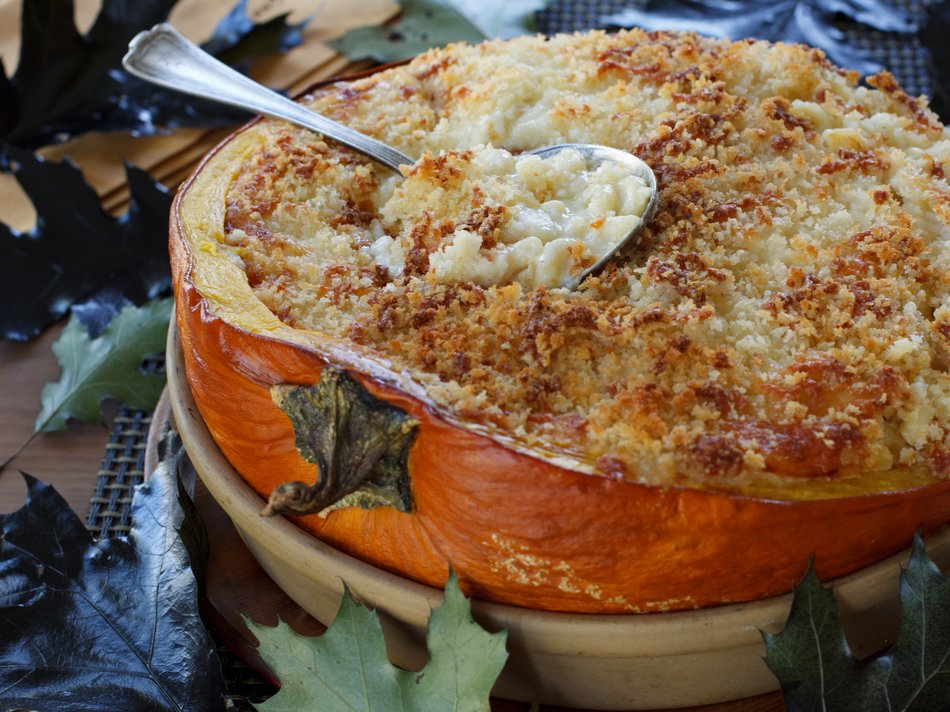 Mac & Cheese Baked in a Pumpkin