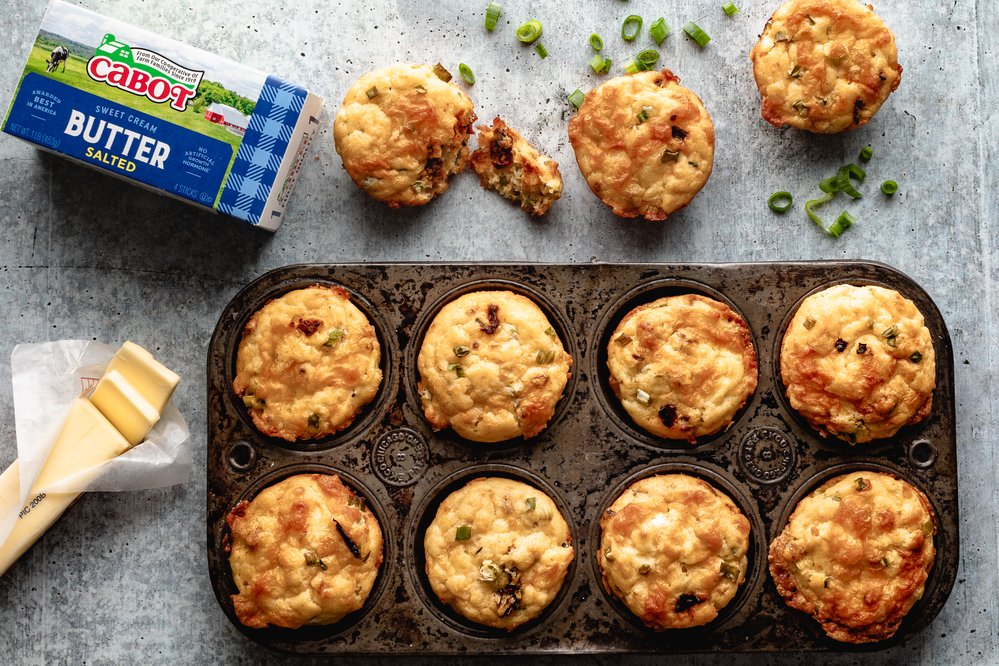 Cheesy Tomato Scallion Muffins