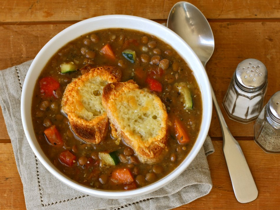 Lentil-Veggie Soup with Cheddar Croutons