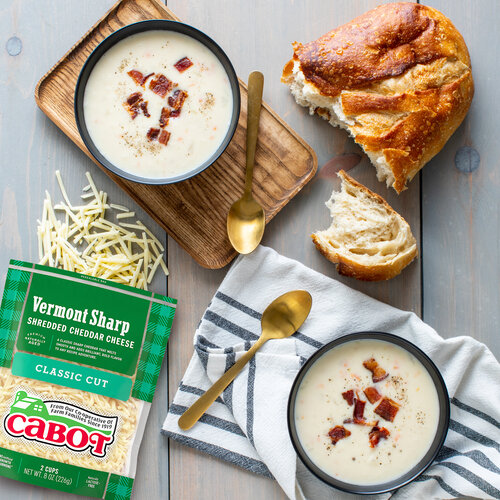 Cheddar-Ale Soup with Bacon Fat Croutons & Candied Bacon