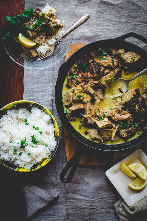 Yogurt Marinated Slow Roasted Pork in Coconut Curry