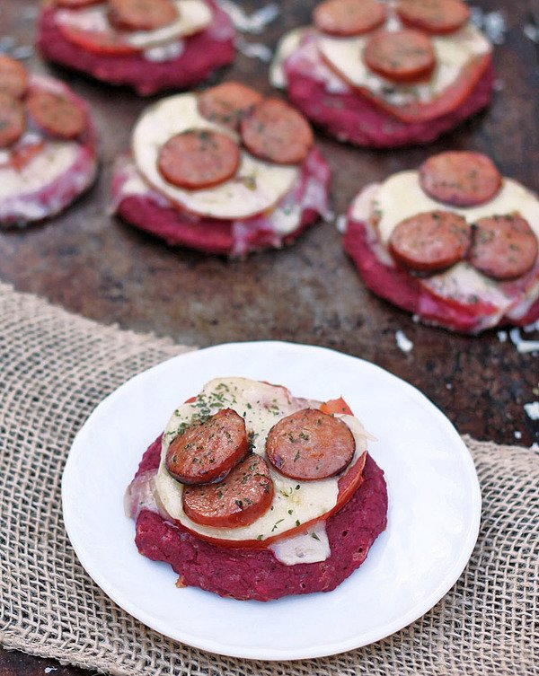 Beet Pizzas with Andouille & Pepper Jack