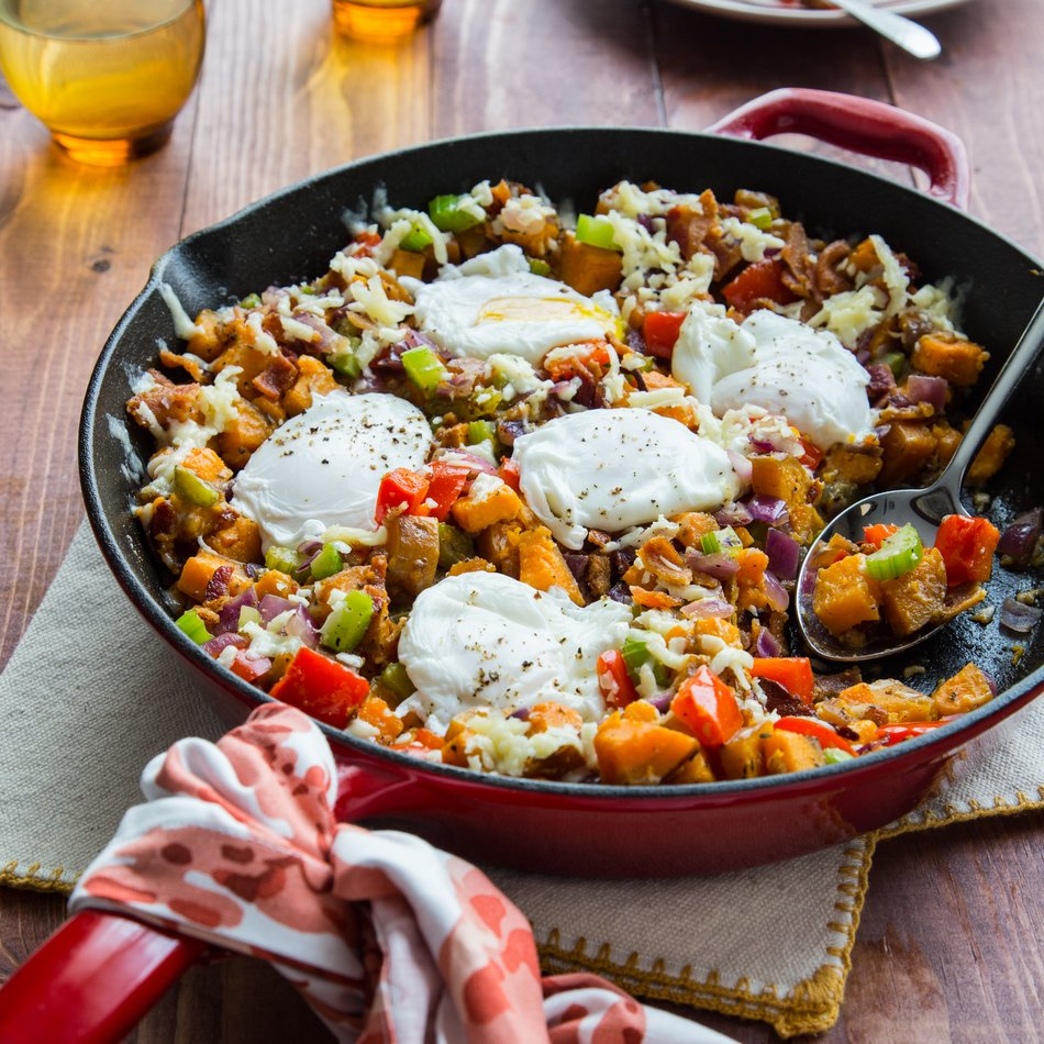 Sweet Potato, Bacon, Red Onion and Cheddar Breakfast Skillet