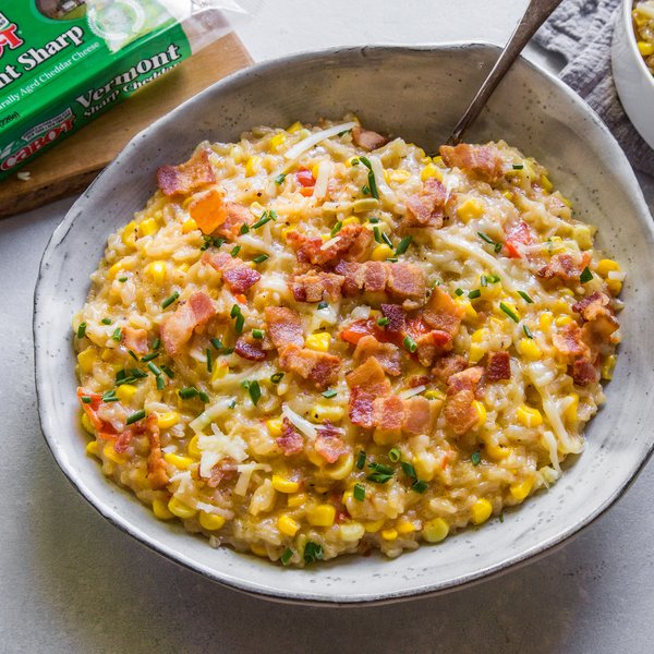 Instant Pot Corn Risotto with Cheddar & Bacon