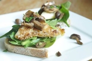 Seared Cheddar Triangles with Sautéed Mushrooms and Spinach