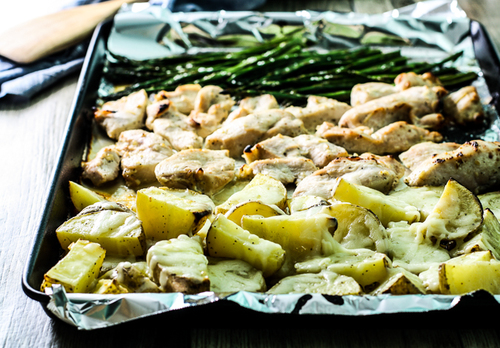 Sheet Pan Caesar Chicken & Potatoes