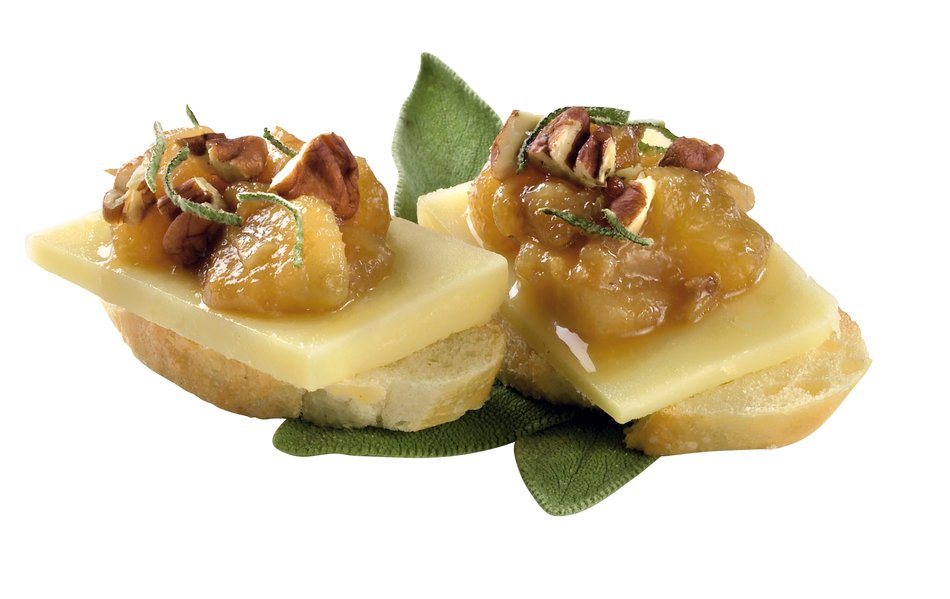 Cheddar and Roasted Pear Canapes