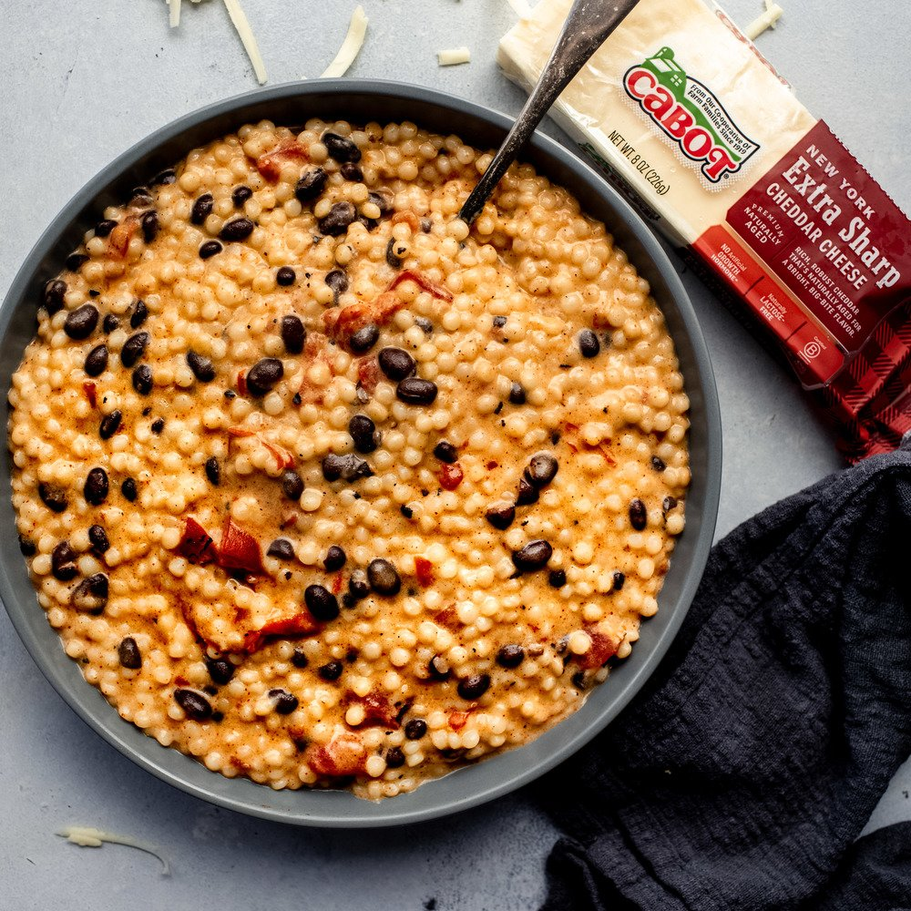 Creamy and Cheesy Couscous with Black Beans