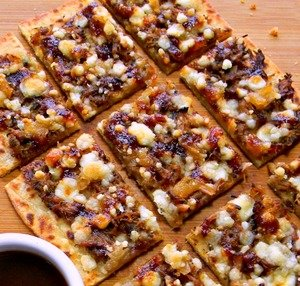 BBQ Cornmeal Cheese Flatbreads
