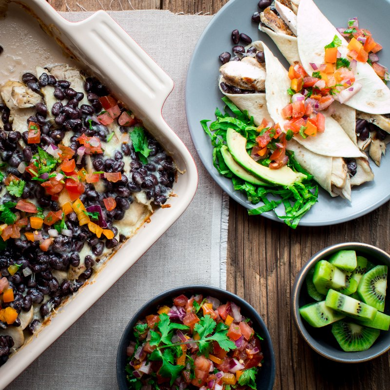 Laura's Chicken-Black Bean Tortillas with Backyard Garden Salsa