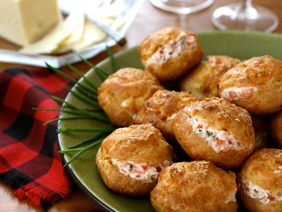 Vermont Cheddar Gougeres with Smoked Salmon Filling