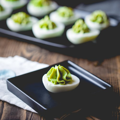 Avocado Cheddar Deviled Eggs