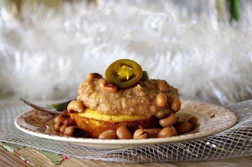 Refried Black Eyed Peas on Jalapeño Cheddar Cornbread