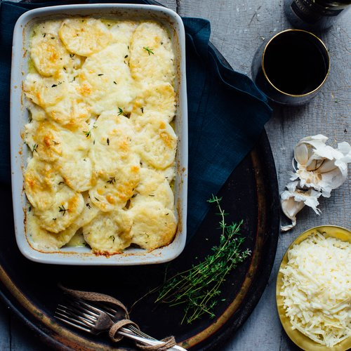 Scalloped Potatoes with Greek Yogurt & Cheddar