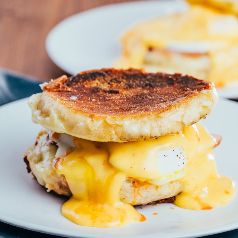 Cheesy Eggs Benedict Grilled Cheese with Hollandaise Sauce